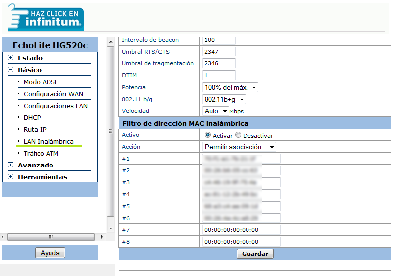 Filtrar MAC en modem Telmex EchoLife HG520c