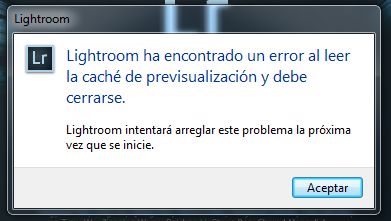 error lightroom al leer el cache